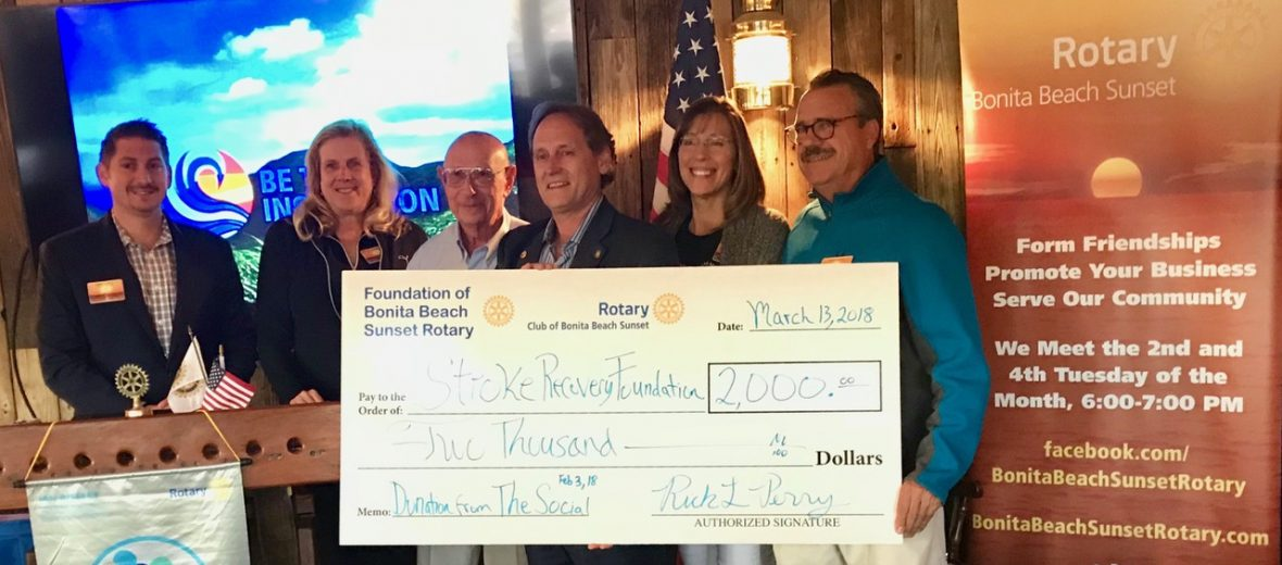 March 13, 2018 Foundation of Bonita Beach Sunset Rotary club presenting Stroke Recovery Foundation with a $2,000 donation