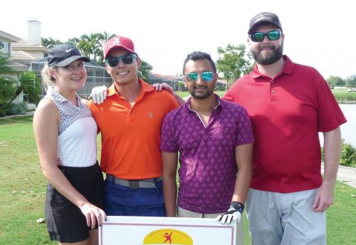 Dr. Chelsea Viola, Dr. Khoa Nguyen, Dr. Rikkil Patel and Dr. Wesley Chapman at 2018 Golf Scramble in Naples Florida honoring Stroke Recovery Foundation