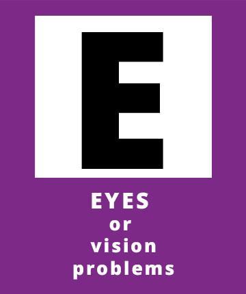 E for Eyes or vision problems, a possible sign of a stroke | Stroke Recovery Foundation